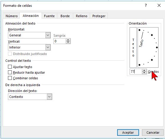 Selección particular de grados en cómo cambiar la orientación de las celdas en Excel 2016