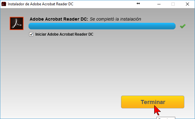 Botón Terminar en cómo descargar e instalar Adobe Acrobat PDF Reader en español