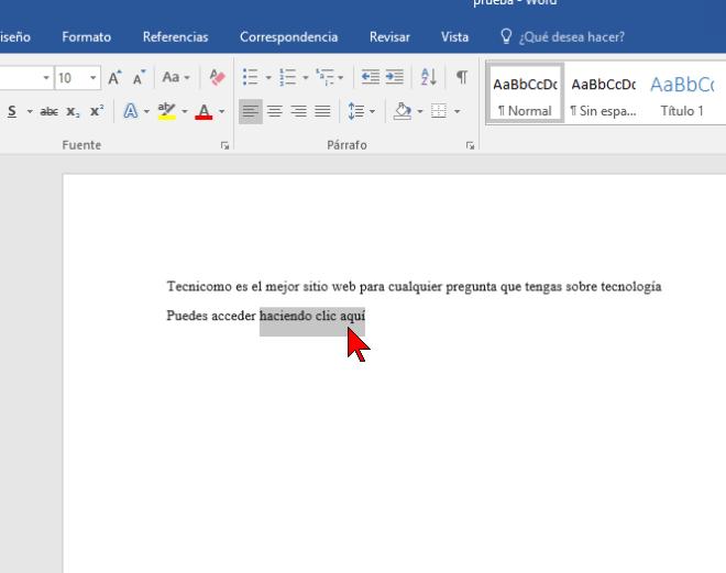 Seleccionando el texto a vincular en cómo hacer enlaces a páginas web en Word 2016