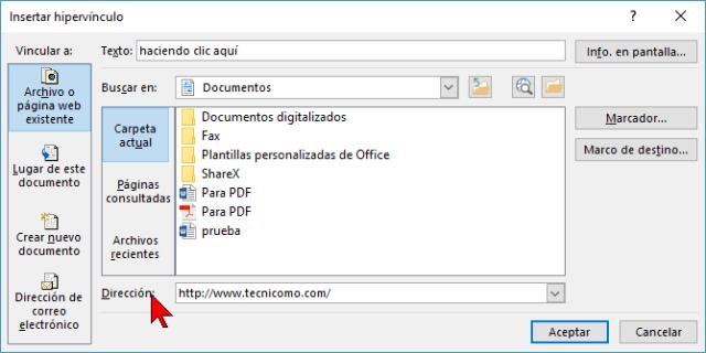 Caja de texto para colocar la Dirección en cómo hacer enlaces a páginas web en Word 2016