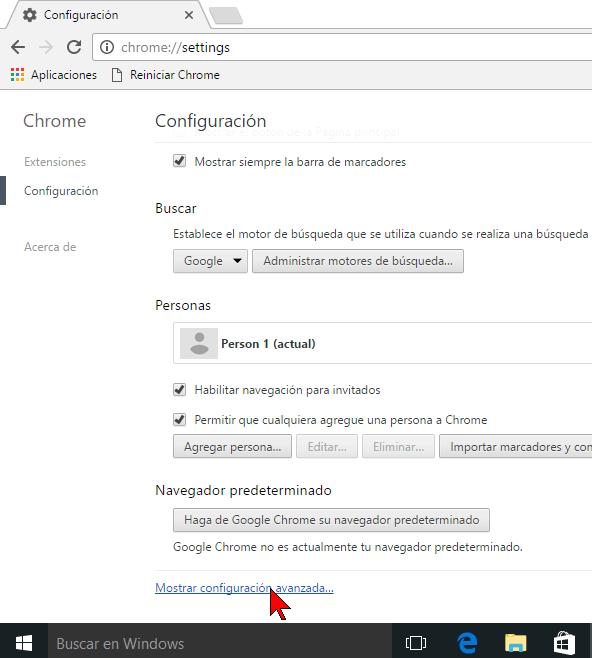 Configuración avanzada de Chrome en cómo hallar contraseñas usando el Administrador de credenciales de Windows 10