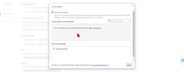 Contraseñas guardadas en Chrome en cómo hallar contraseñas usando el Administrador de credenciales de Windows 10
