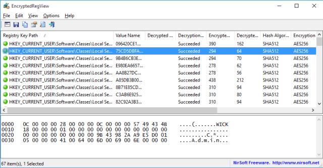 Ejemplo del programa EncryptedRegView en cómo hallar contraseñas usando el Administrador de credenciales de Windows 10