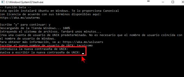 Escribiendo y confirmando la contraseña en cómo instalar el Linux Bash Shell en Windows 10