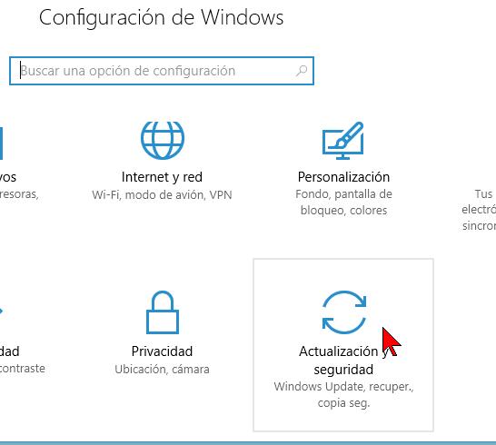 Opción Actualización y seguridad en cómo instalar el Linux Bash Shell en Windows 10