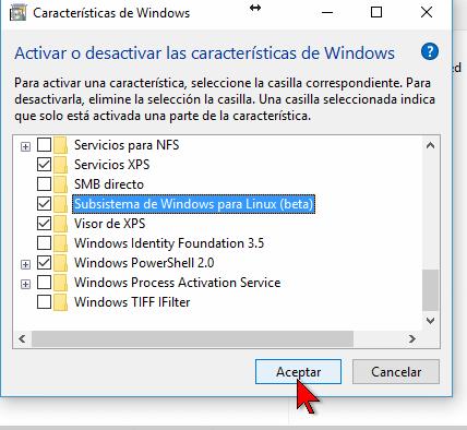 Botón Aceptar de las Características de Windows en cómo instalar el Linux Bash Shell en Windows 10