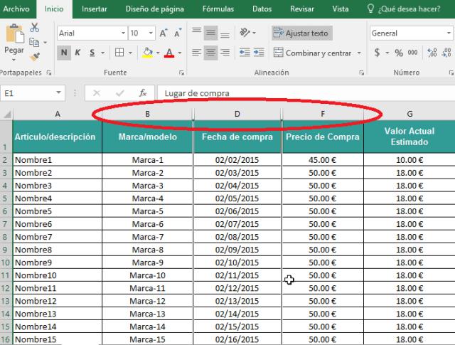 Faltan letras de columnas ocultas en el encabezado en cómo ocultar y mostrar columnas en Excel 2016