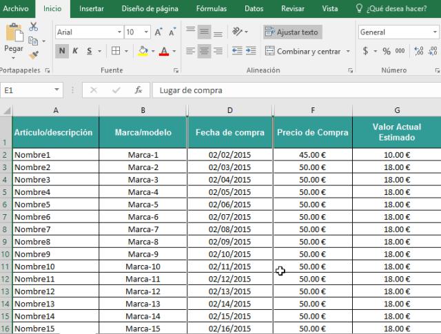 Muestra de columnas ya ocultas en cómo ocultar y mostrar columnas en Excel 2016