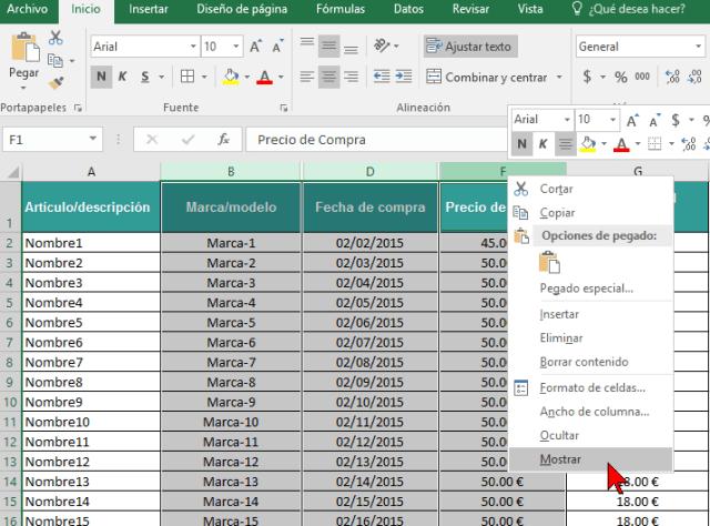 Opción Mostrar en cómo ocultar y mostrar columnas en Excel 2016