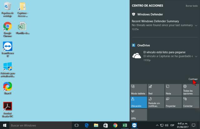 Enlace Contraer en cómo personalizar los botones del Centro de acciones en Windows 10