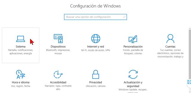 Opción Sistema del menú de Configuración en cómo personalizar los botones del Centro de acciones en Windows 10