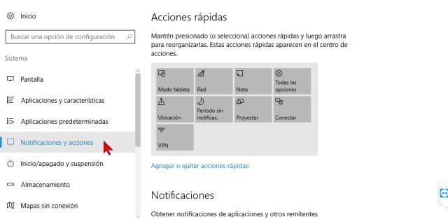 Notificaciones y acciones en cómo personalizar los botones del Centro de acciones en Windows 10