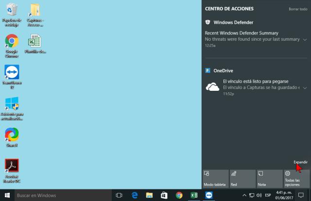 Enlace Expandir en cómo personalizar los botones del Centro de acciones en Windows 10