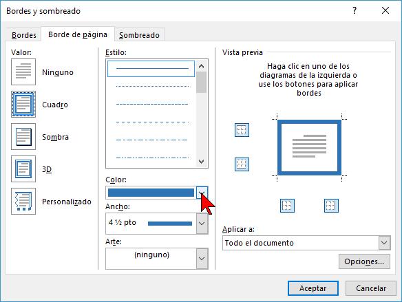 Opciones de color en cómo ponerle un borde a una página de Word 2016
