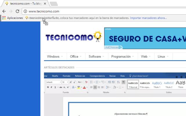 Creando un marcado en Google Chrome en cómo reiniciar Chrome rápidamente usando un marcador