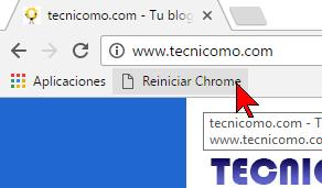 Probando el marcador en cómo reiniciar Chrome rápidamente usando un marcador