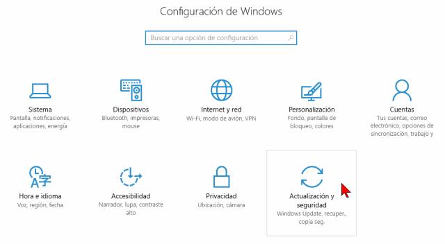 Opción Actualización y seguridad en cómo restablecer tu PC a su estado original desde Windows 10