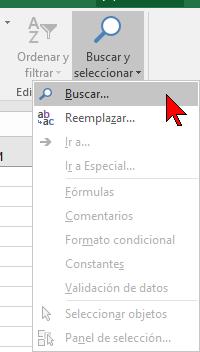 Opciones del botón Buscar y seleccionar en cómo buscar texto en Excel 2016