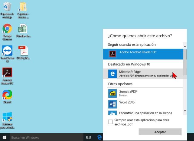 Seleccionando la app por defecto en cuáles son los mejores programas para abrir archivos PDF en Windows 10