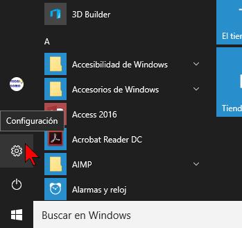 Opciones de Configuración de Windows 10 desde el menú Inicio