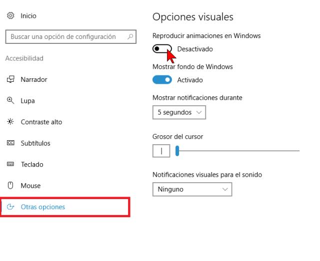 Botón de activación Reproducir animaciones en Windows en cómo deshabilitar las animaciones innecesarias en Windows 10