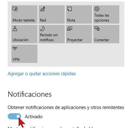Obtener notificaciones de aplicaciones y otros remitentes en cómo deshabilitar las notificaciones en Windows 10