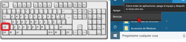 Botón Reiniciar y teclado para reiniciar Windows 10 en modo seguro