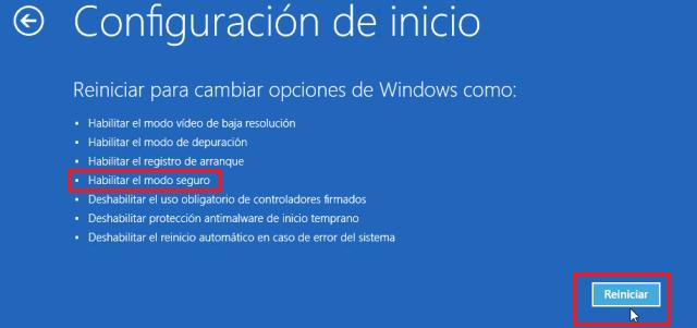 Lista de opciones a cambiar al reiniciar Windows 10 en modo seguro
