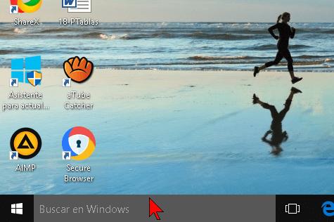 Cuadro de búsqueda básico en Windows 10