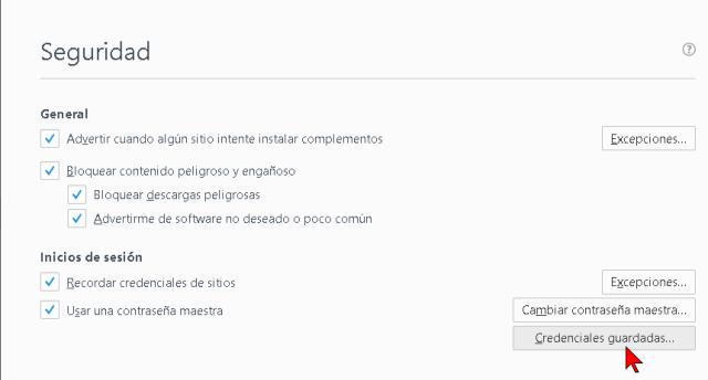 Botón Credenciales guardadas de Firefox