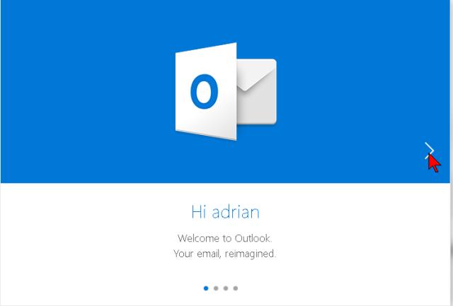 Mensaje de bienvenida luego de crear una cuenta nueva de Outlook
