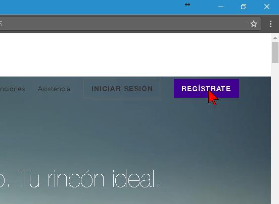 Botón Regístrate para crear una cuenta de Yahoo