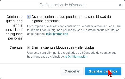 Página con las opciones de Configuración de búsqueda de Twitter