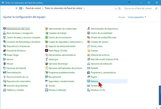 Opción Sistema del Panel de control de Windows 10