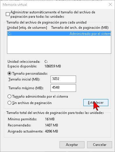 Personalizando los valores de la memoria virtual en Windows 10