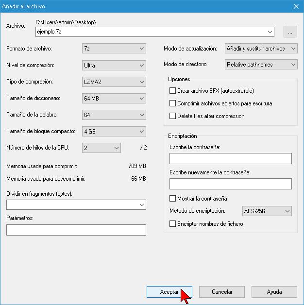Ajustando los parámetros para comprimir un archivo con 7-Zip