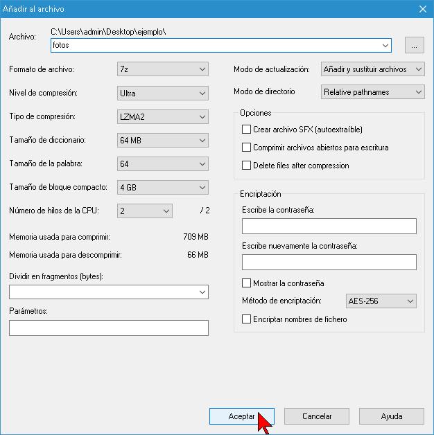 Configuración de parámetros para comprimir varios archivos con 7-Zip
