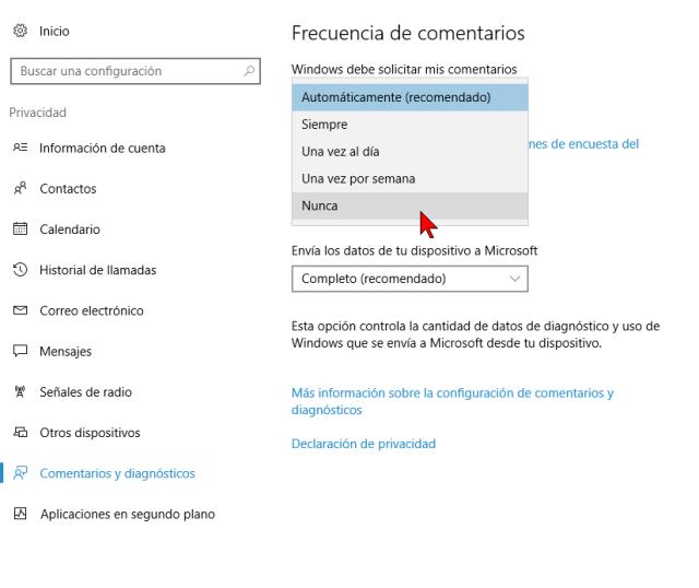 Frecuencia de comentarios en Opciones de Comentarios y diagnósticos de Windows 10