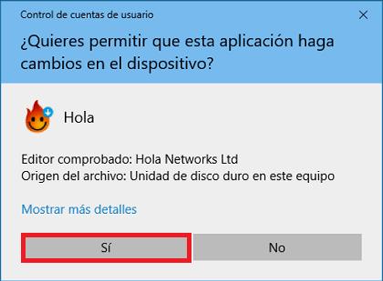 Hola VPN pidiendo permiso para hacer cambios al sistema durante instalación