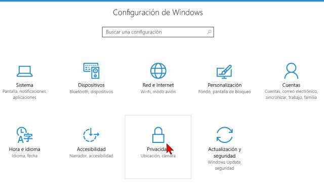 Opción de Privacidad de la Configuración de Windows