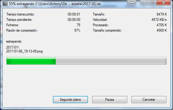 Barra de progreso extrayendo archivo con 7-Zip