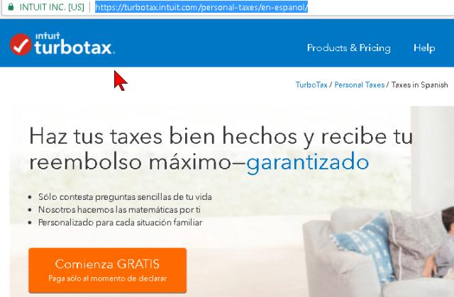 Captura de la pantalla principal de TurboTax en cómo hacer los taxes o impuestos gratis