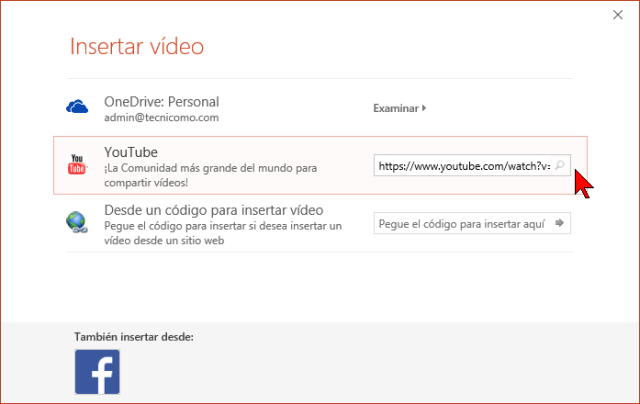 Insertando un vídeo de YouTube a una presentación de PowerPoint 2016