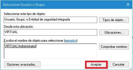 Aceptar Selección de Usuario o Grupo en cómo tomar posesión de una carpeta o archivo en Windows 10
