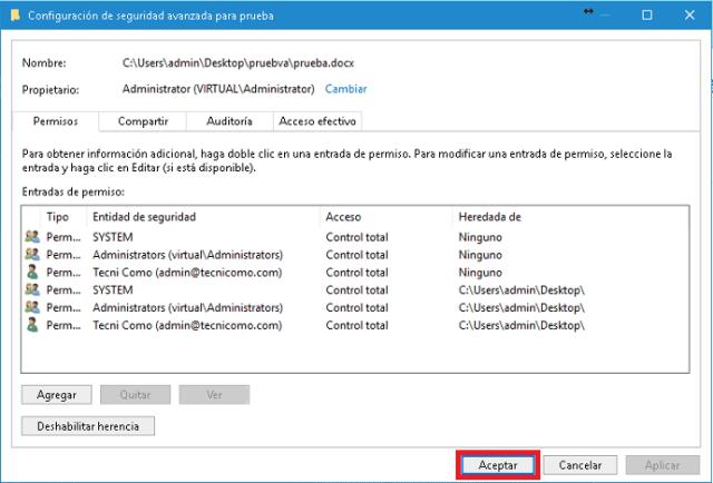 Ventana Configuración de seguridad avanzada en cómo tomar posesión de una carpeta o archivo en Windows 10