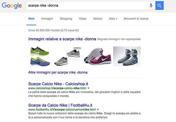 operatore meno ricerca google