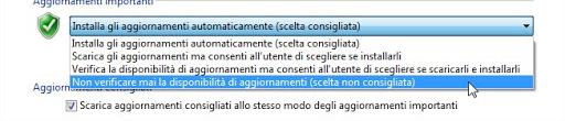 impostazione windows update non verificare aggiornamenti