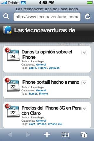 Vista de este blog desde un iPhone