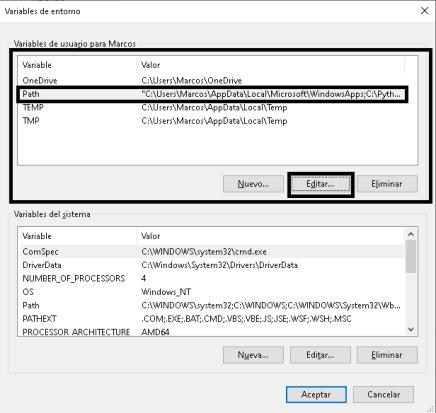 Variables de entorno usuario W10
