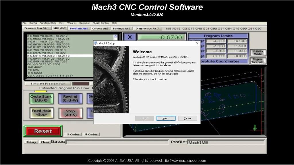 Mach3 cnc software de control